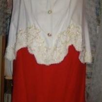 Vintage Mother of the Bride Red & White Rayon Crepe Beaded French Lace Photo