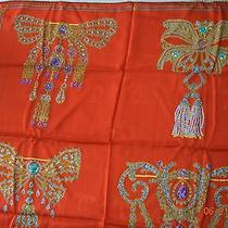 Vintage Must De Cartier Red Silk Scarf W Jeweled Brooches Made in Italy  Photo