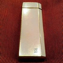 Vintage Must De Cartier White Lacquer Gold Plated Lighter Briquet Photo