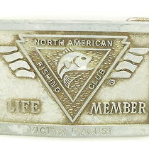 Vintage Nafc North American Fishing Club Life Member Silver Tone Belt Buckle Photo