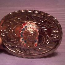 Vintage Native American 1970s 3-D Indian Chief Silvertone Belt Buckle Photo