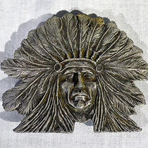 Vintage Native American Indian Chief Belt Buckle Imc 4.25