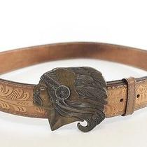 Vintage Native American Indian Chief Brass Buckle Leather Western Belt Photo