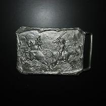 Vintage Native American Indian Hunting Buffalo Pewter Belt Buckle Chief Horse Photo