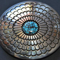 Vintage Native American Sterling Silver Belt Buckle Turquoise Center Stone Photo