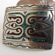 Vintage Native American Sterling Silver Belt Buckle With Turquoise Coral Chip In Photo