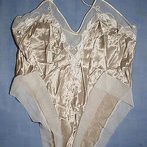 Vintage Natori 3929 Embroidered With Sheer Fabric Trim Teddy Size Medium Taupe Photo