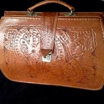 Vintage Natural Leathertooled Doctors Bag Hand Bag Purse Multi Uses Photo
