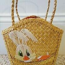 Vintage Natural Woven Straw Childs Purse Bunny Rabbit Carrot Easter Basket Photo