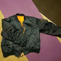 Vintage Navy Blue Bomber Coat Jacket Men's Size Large Puffy Orange Inside Photo