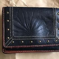 Vintage Navy Blue Cognac Brown Trim Tooled Fossil Leather Trifold Wallet Photo
