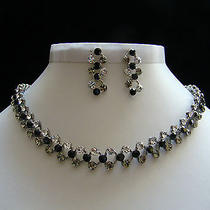 Vintage Necklace & Earring Set Jet/clear Swarovski Crystal Bridal Jewelry N3003 Photo