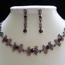 Vintage Necklace & Earrings Amethyst Swarovski Crystal N1009 Photo