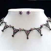 Vintage Necklace & Earrings Amethyst Swarovski Crystal N1111a Photo