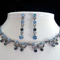Vintage Necklace & Earrings Sapphire Swarovski Crystal N107a Photo
