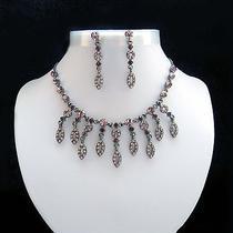Vintage Necklace & Earrings Set Amethyst Swarovski Crystal Wedding Set N3035d Photo