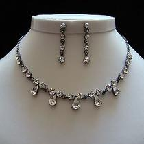 Vintage Necklace Earrings Set Clear Swarovski Crystal Party Jewelry Set N1120a Photo