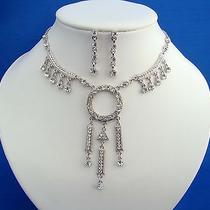 Vintage Necklace & Earrings Set Clear Swarovski Crystal Wedding Set N3016 Photo