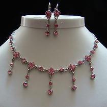 Vintage Necklace & Earrings Set Lt Rose Swarovski Crystal Bridal Jewelry N3040 Photo