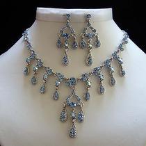 Vintage Necklace & Earrings Set Lt Sapphire Swarovski Crystal Wedding Set N3027a Photo