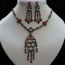 Vintage Necklace & Earrings Set Multicolored Swarovski Crystal  N5065 Photo