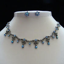 Vintage Necklace & Earrings Set Sapphire Swarovski Crystal N178d Photo