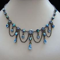 Vintage Necklace & Earrings Set Sapphire Swarovski Crystal Perfect Gift N3021 Photo