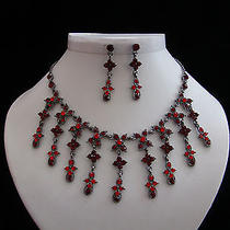 Vintage Necklace & Earrings Set Siam Swarovski Crystal Bridal Jewelry N3028 Photo