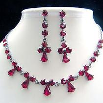 Vintage Necklace Earrings Set Siam Swarovski Crystal Party Jewelry Set N1120 Photo