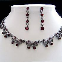 Vintage Necklace & Earrings Siam Swarovski Crystal N107b Photo