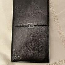 Vintage New Black Christian Dior Long Bifold Credit Card Check Book Wallet Photo