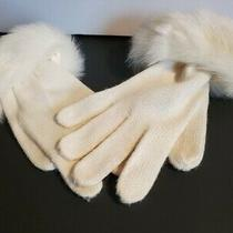 Vintage New Knit Women's Off White Gloves With Fur Cuff Photo