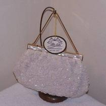 Vintage New/old Stock White Beaded Purse   Mother of Pearl by Mr John Orig Box Photo