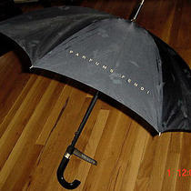 Vintage New With Tag Black Authentic 1970's Parfums Fendi City  Large Umbrella Photo