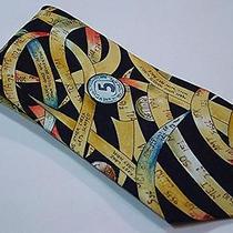 Vintage Nicole Miller Ticker Tape Strip Stock Financial Theme Mens Silk Neck Tie Photo