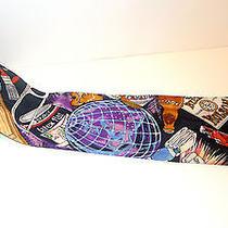 Vintage Nicole Miller Tie Necktie 1991 Paint Globe Hockey Bright Colors Novelty Photo