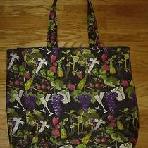 Vintage Nicole Miller Zipper Tote Bag Champagne and Strawberries Print Photo