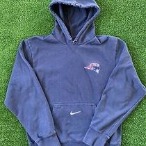 Vintage Nike Hoodie Sweatshirt Center Pocket Swoosh Check Mens Size Small Navy Photo