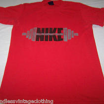 Vintage Nike Weight Lifting Shirt Medium 80s Blue Tag Barbell Dumbbell Workout  Photo