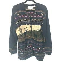 Vintage Northern Treasures Blue Cotton Cable Knit Nature Cardigan Sweater Large Photo