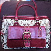 Vintage Nwot Coach Speedy Khaki Signature Bordeaux Leather Satchel Purse Photo