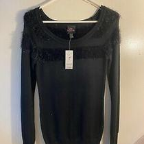 Vintage Nwt 2b Bebe Ls Baby Fur Scoop Sweater- Black With Faux Fur Accent Photo