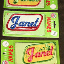 Vintage Old Janet Name Patch Tag Lot Work Uniform T Shirt Jacket Cap Bag Hat Photo