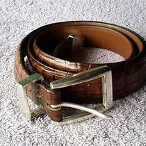 Vintage Onyx by Brighton Faux Alligator Belt Sz 42 Free Ship Photo