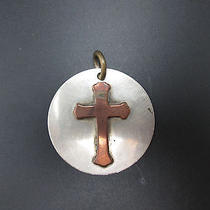 Vintage Ornate Copper Silver Cross Pendant Necklace Charm by J. Parker Photo