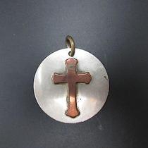 Vintage Ornate Copper Silver Cross Pendant Necklace Charm by J. Parker Photo