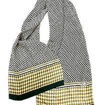 Vintage Oscar De La Renta Silk Scarf Harlequin Pattern Green Oblong 1970s Photo