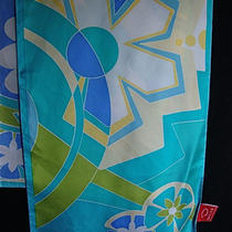 Vintage Oscar De La Renta Silk Signed Scarf 12x53 Aqua Golden Yellow Florals Photo