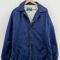Vintage Ozark Trail - Men's M - Navy Blue Nylon Snap Button Coach Jacket - Vtg Photo