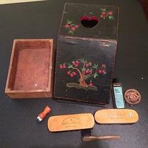 Vintage Painted Shoe Shine Box With Tray & Brushes Photo